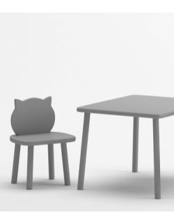 Stolik i 2 krzesełka kotki - szare