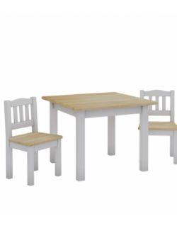 Zestaw stolik i 2 krzesełka- biały i naturalny