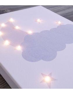 ŚWIECĄCY KSIĘŻYC GWIAZDA personalizowany imieniem - prezent na chrzest lampa obraz dekoracja prezent dla dziecka