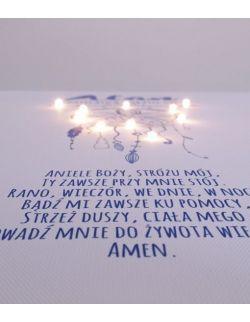 ŚWIECĄCA PAMIĄTKA CHRZTU łapacz snów modlitwa Aniele Boży anioł prezent na chrzest święty