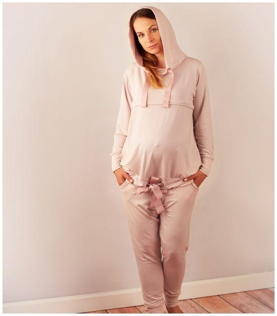 Bluza do karmienia i ciążowa- pudrowy róż kolekcja PLEASURE