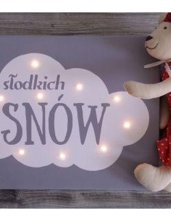 ŚWIECĄCY obraz chmurka SŁODKICH SNÓW dla dziecka lampka dekoracja
