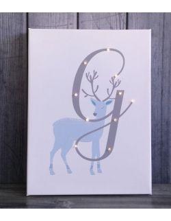 ŚWIECĄCA LITERA imię jeleń prezent lampka obraz dla dziecka