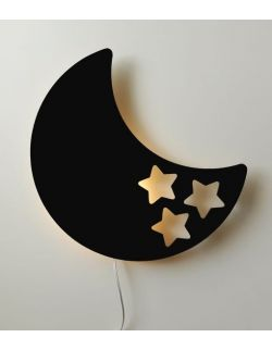 Drewniana lampka nocna - księżyc BOB czarna