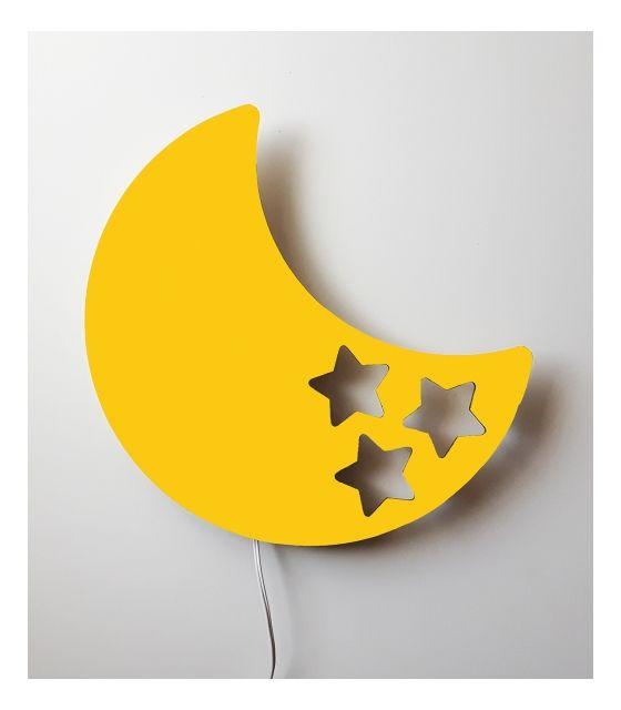 Drewniana lampka nocna - księżyc BOB żółta