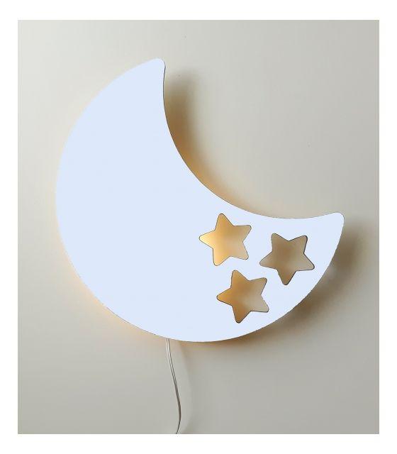 Drewniana lampka nocna - księżyc BOB biała