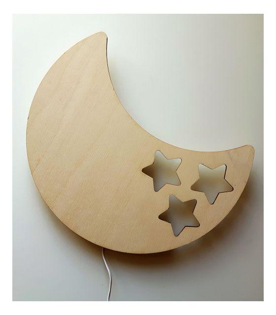 Drewniana lampka nocna - księżyc BOB