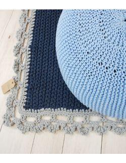 Puf szeroki ręcznie dziergany błękitny Willow Hand Made