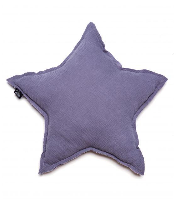 poduszka gwiazda muślinowa granatowo-stalowa