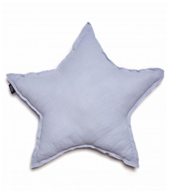 poduszka gwiazda muślinowa jasnoszara