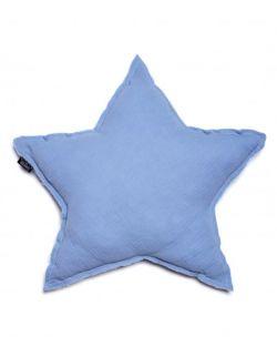 poduszka gwiazda muślinowa jasnoniebieska