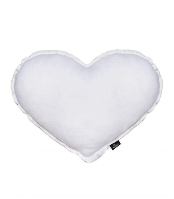poduszka serce muślinowa biała