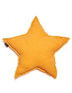 poduszka gwiazda muślinowa musztardowa
