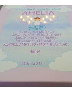 ŚWIECĄCA PAMIĄTKA CHRZTU modlitwa Aniele Boży prezent na chrzest święty