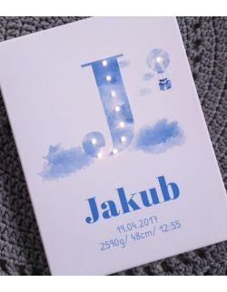 ŚWIECĄCA METRYCZKA personalizowana dla dziecka imię prezent narodziny chrzest