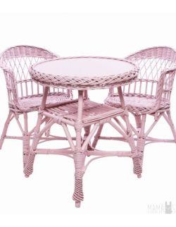 Wiklinowy stolik mini - różowy