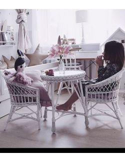 Wiklinowy stolik mini - biały