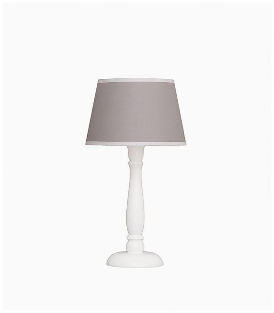 Lampka nocna szara z białą lamówką