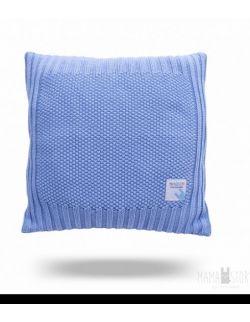 Poduszka dzianinowa - niebieska