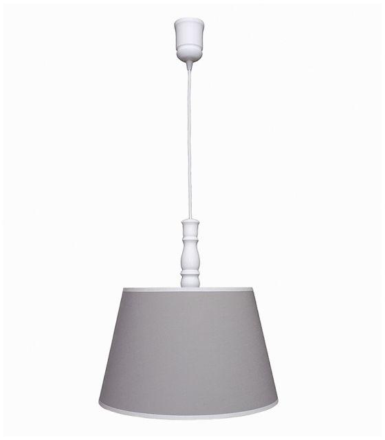 Lampa wisząca szara z białą lamówką