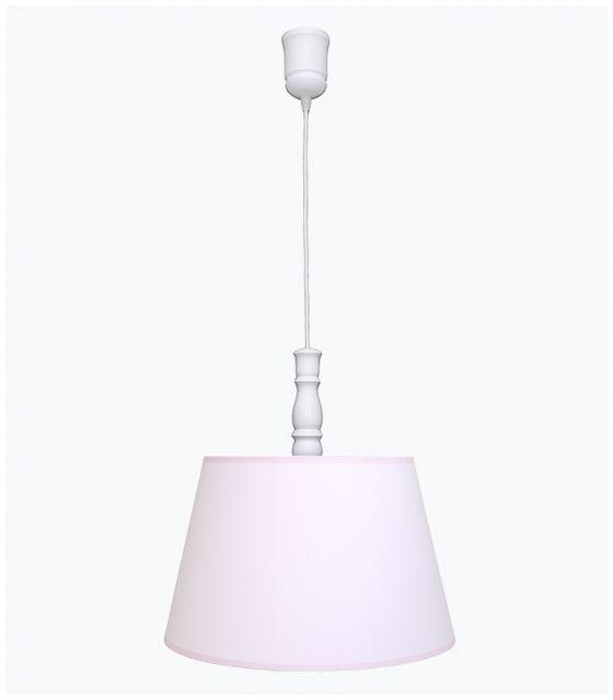 Lampa wisząca pudrowy róż z różową lamówką