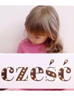 ŚWIECĄCY NAPIS CZEŚĆ dekoracja lampka LED prezent pokój dziecka