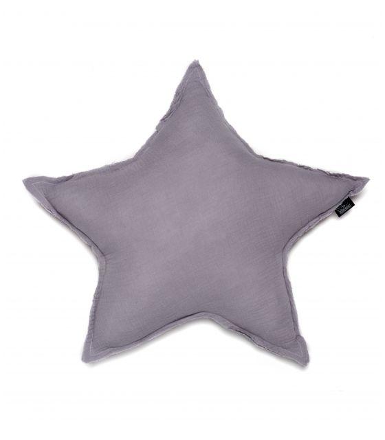 poduszka gwiazda muślin SZARA