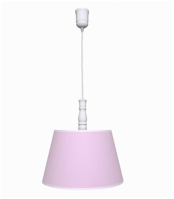 Lampa wisząca różowa z białą lamówką