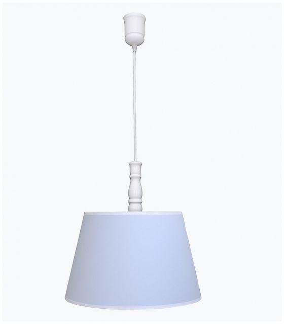 Lampa wisząca błękitna z białą lamówką