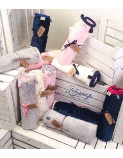 Kocyk FloppyLove Navy Blue & Pink Tags