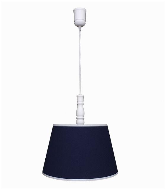 Lampa wisząca granatowa z białą lamówką