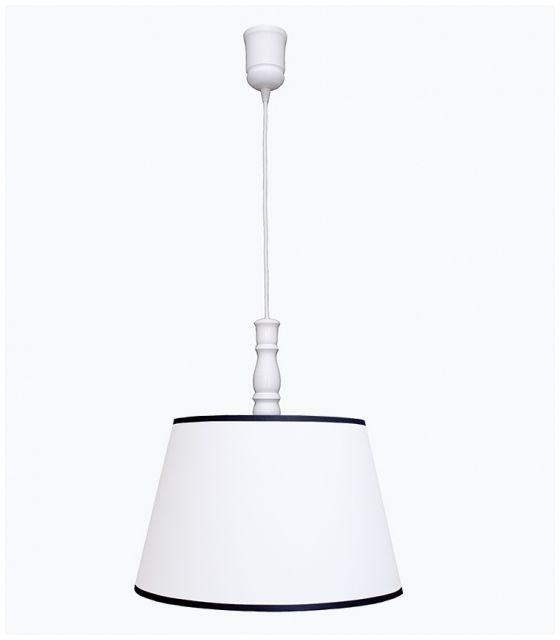 Lampa wisząca biała z granatową lamówką