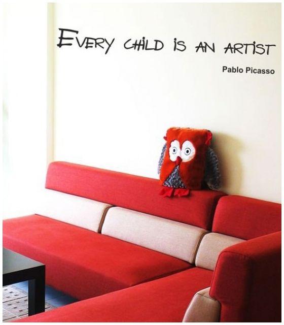 Every child is an artist Picasso cytat naklejka