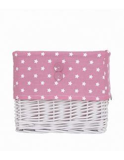 Koszyk wiklinowy różowo-biały w gwiazdki mały