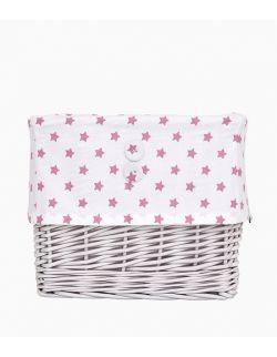 Koszyk wiklinowy biało-różowy w gwiazdki duży