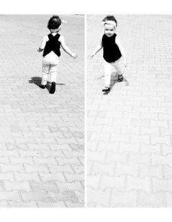 Black Sheep Dziewczęca Bluzeczka na skos, Czarna