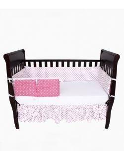 Ochraniacz do łóżeczka różowo-biały w gwiazdki
