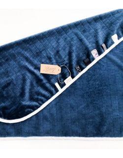 Kocyk FloppyLove Navy Blue & White Tags
