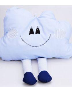 Poduszka dekoracyjna chmurka z nóżkami personalizowana niebieska