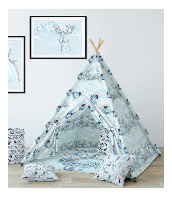 Namiot Tipi, mata, poduszki z kolekcji Królowa Lodu - Premium