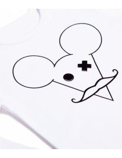 Białe body z długim rękawem - mysz z wąsami