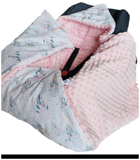 Kocyk do fotelika zimowy Łapacze snów& kropki róż