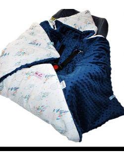 Kocyk do fotelika zimowy Łapacze snów& kropki granat