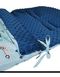 Śpiworek do wózka 5w1 od 0-18 m-cy + MUFKA Króliki& navy dots