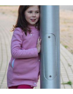 Płaszcz dziecięcy wiosenno-jesienny - różowobiały