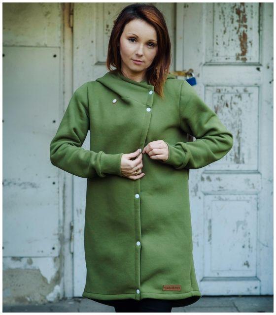 Płaszcz wiosenny damski-oliwkowy