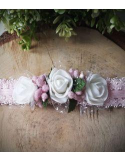 Opaska Wianuszek Białej Róże na Różowej Gumce