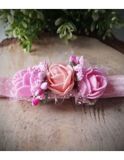 Opaska Wianuszek Różowe i Łososiowa Róża na Różowej Gumce