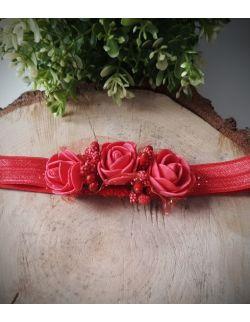 Opaska Wianuszek Czerwone Róże z Czerwoną Gumką