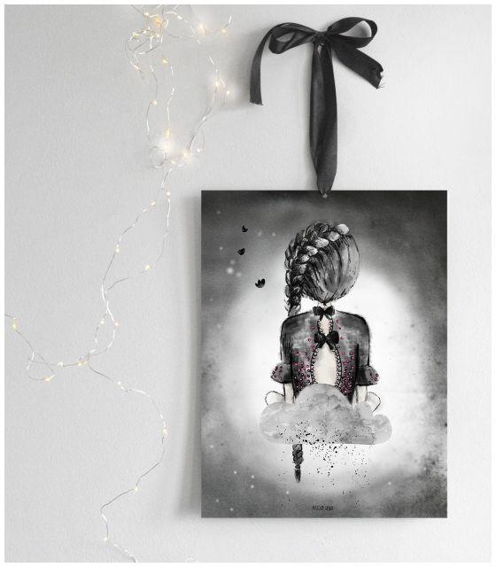 Katlin na chmurce, szary plakat dla dziewczynki, do pokoju córki, obrazek dziecięcy, czarno-białe dekoracje dla dzieci